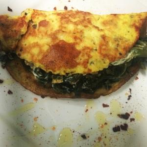 omelete de castanhas com espinafre