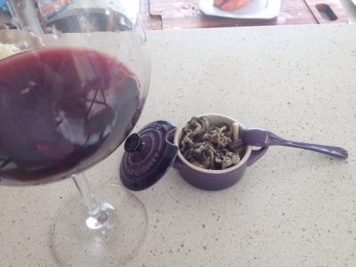 shimeji e vinho