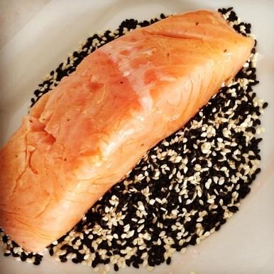 salmão no gergelim