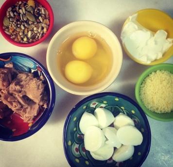 omelete - atum mise en place