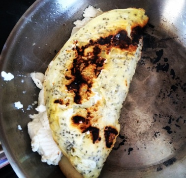 omelete de queijos - dobrado