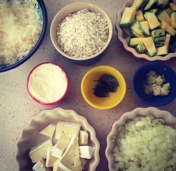 risoto de abobrinha - mise en place